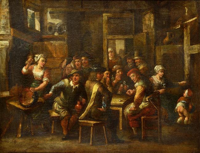 NAŚLADOWCA Davida Teniersa młodszego (1610 Antwerpia - 1690 Bruksela)