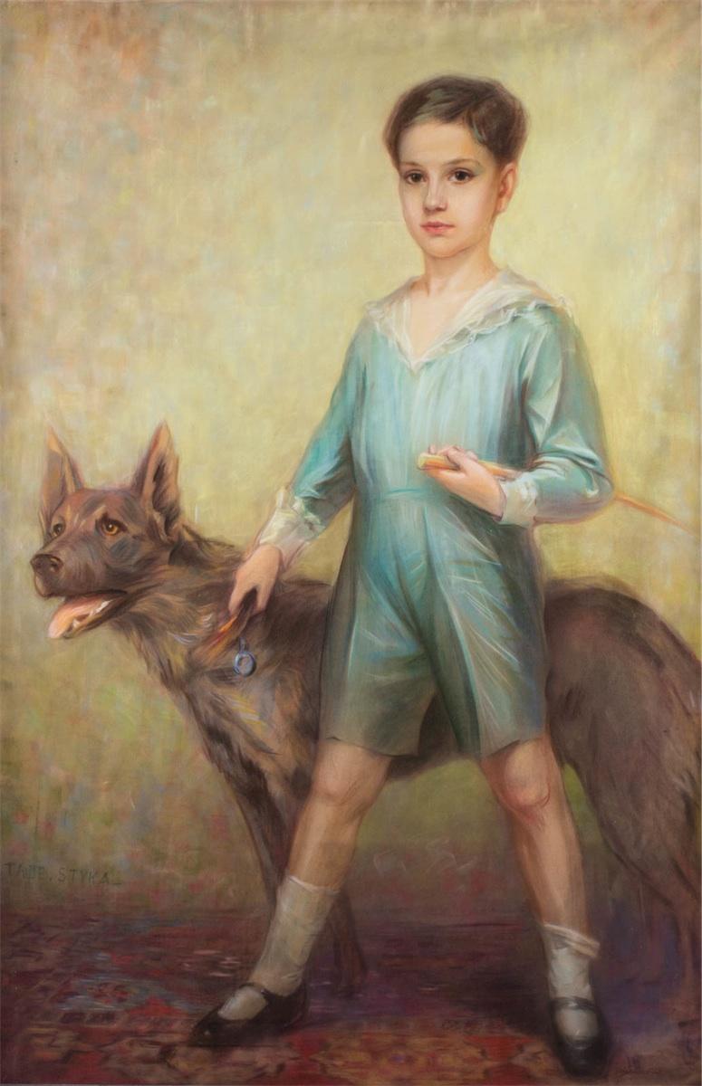 Portret chłopca z psem