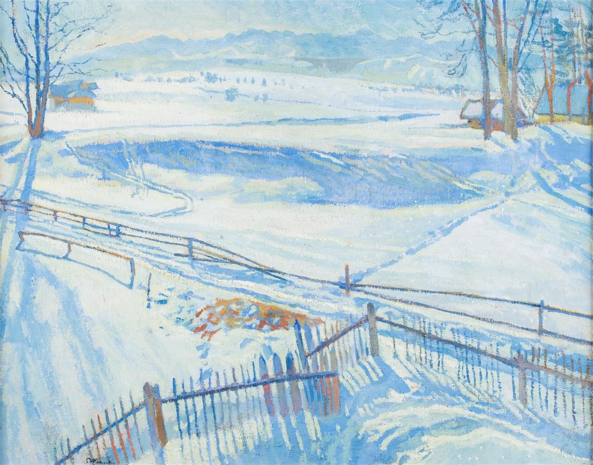 Zimowy pejzaż z płotem