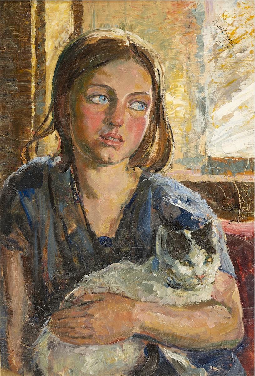 Portret dziewczynki z kotem