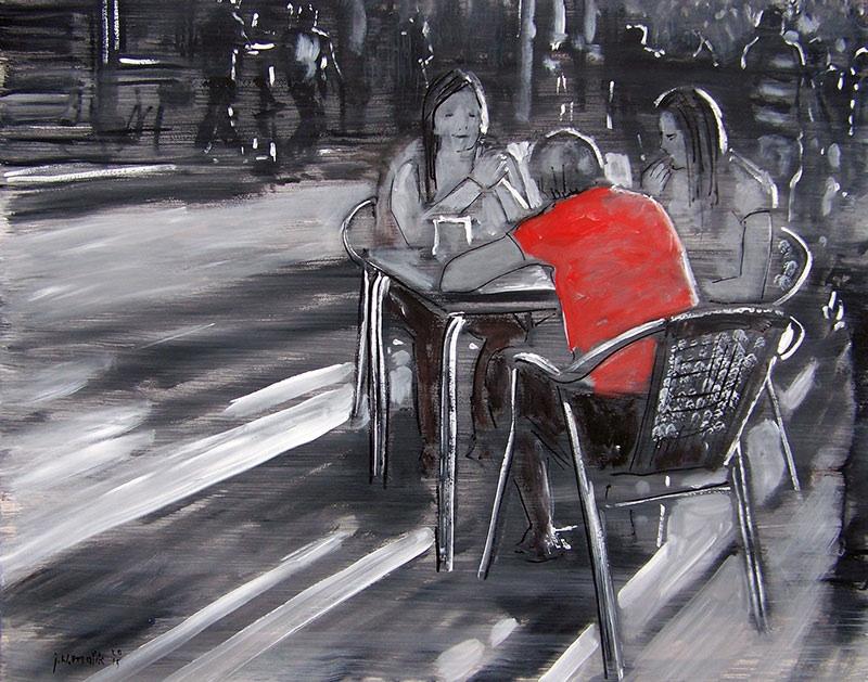 Czerwony przy stoliku, 2015