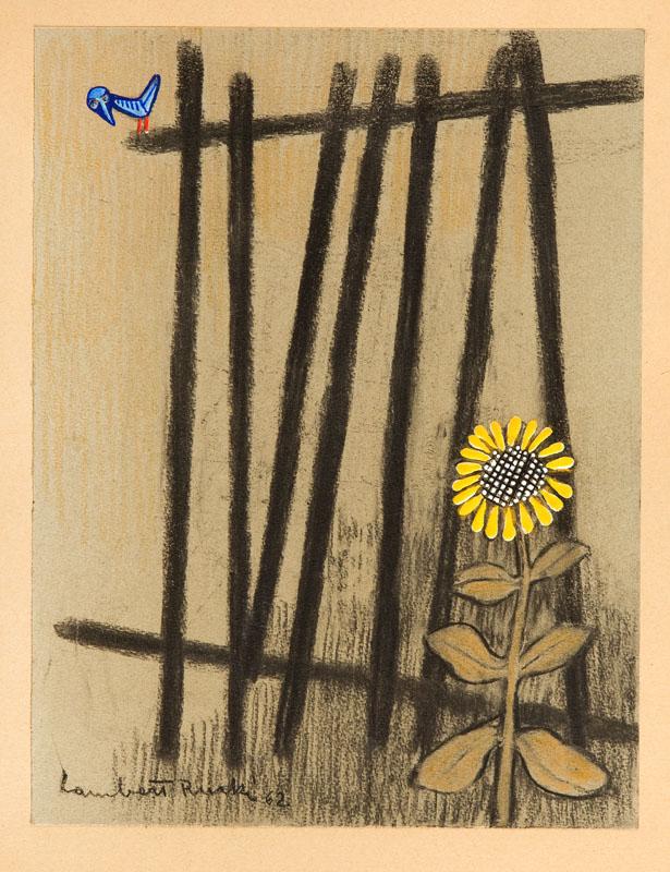 Płot z niebieskim ptakiem, 1962 r.