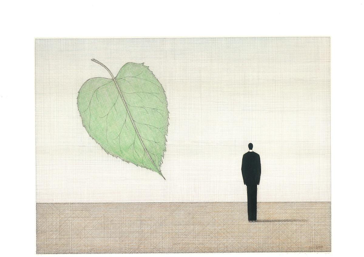 Pejzaż z zielonym liściem