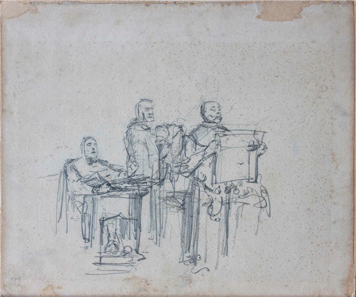 Trzej mówcy, szkic do obrazu