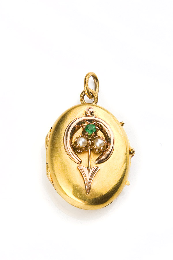 Medalion z mołdawitem, Rosja, XIX w.