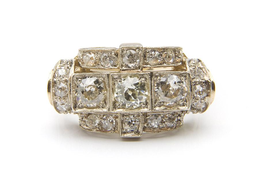 Pierścionek diamentowy, l. 40.-50. XX w.