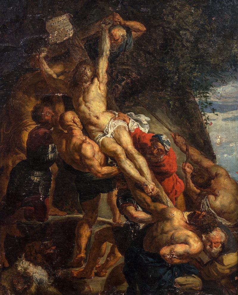 Podniesienie krzyża wg Rubensa -XVIII w.