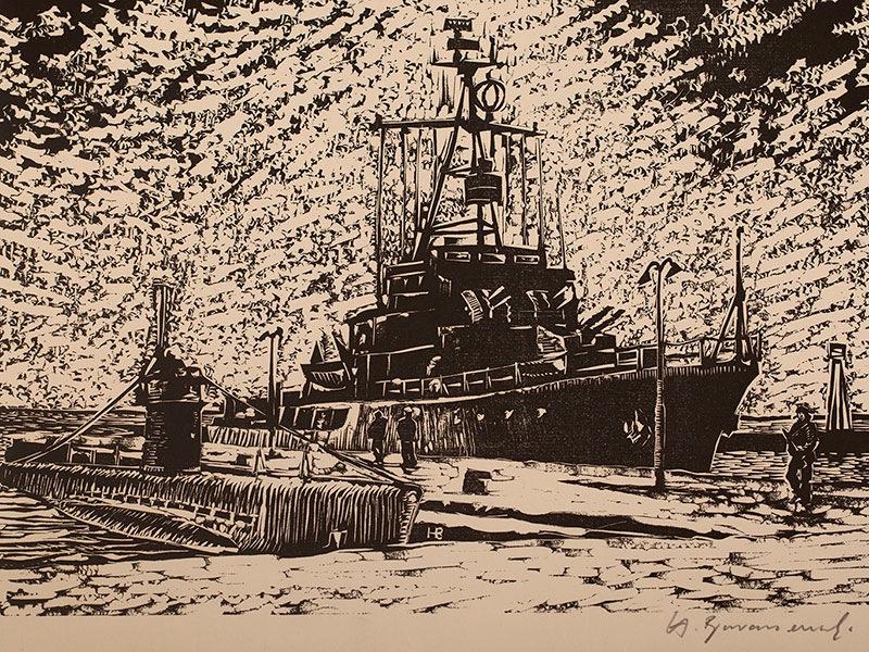Okręt wojenny i łódź podwodna, z teki grafik Marynarki Wojennej