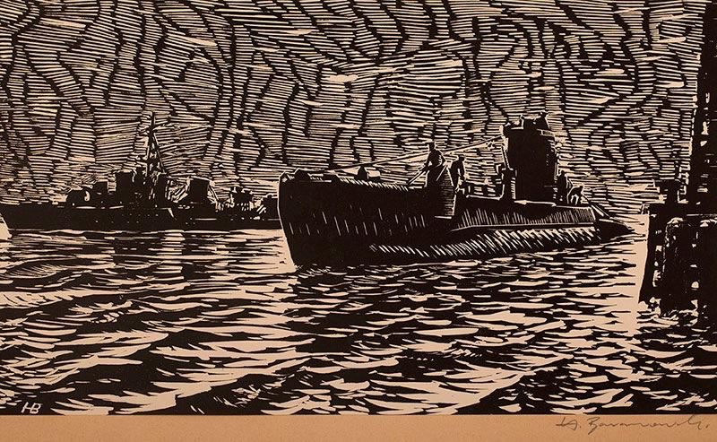 Łódź podwodna, z teki grafik Marynarki Wojennej