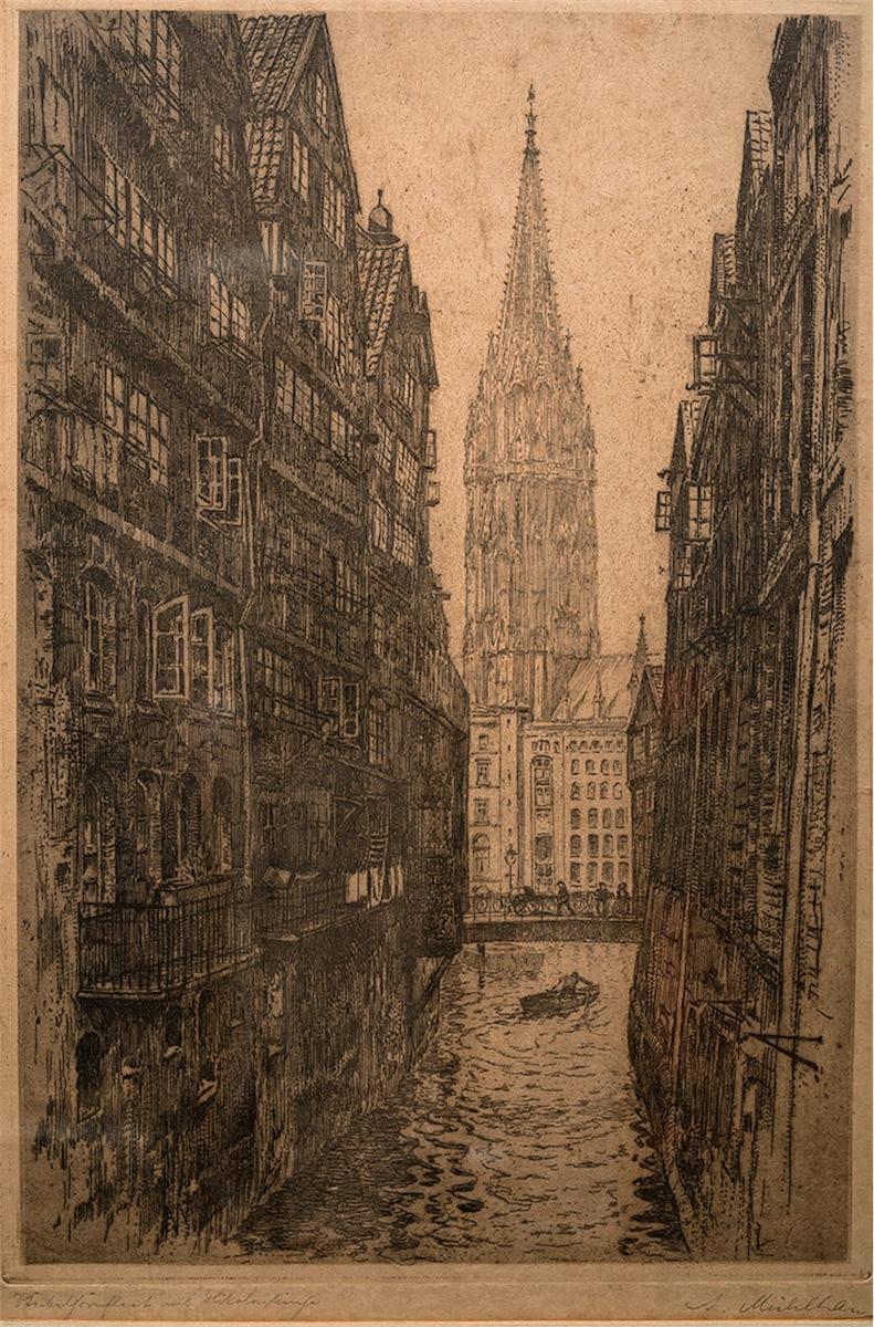 Widok na kanał Holtz Brücke oraz na wieżę kościoła św. Mikołaja w Hamburgu