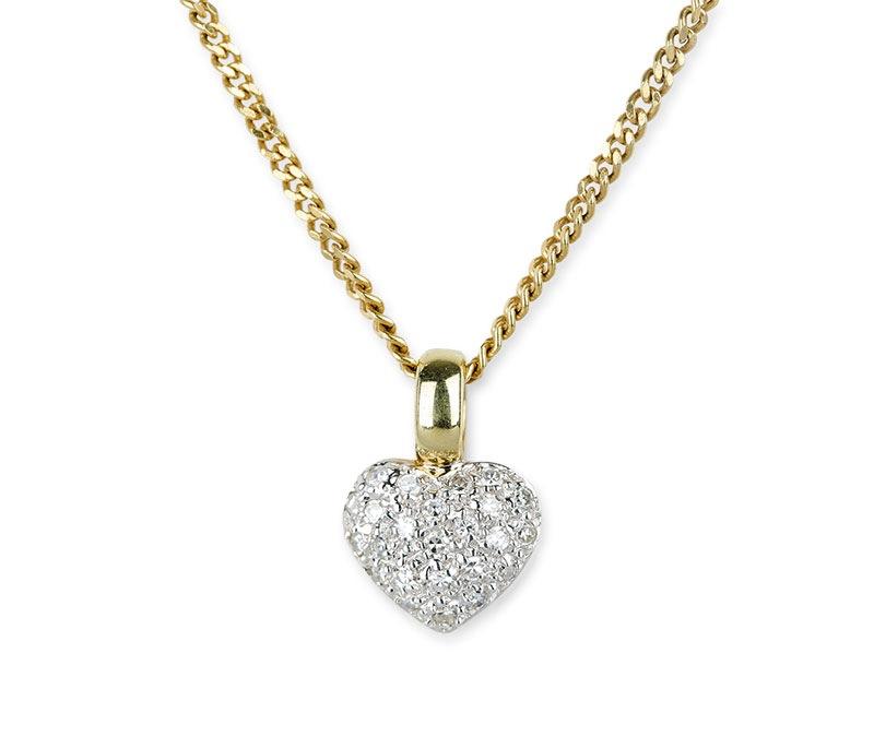 Naszyjnik serduszkoz diamentami, współczesny