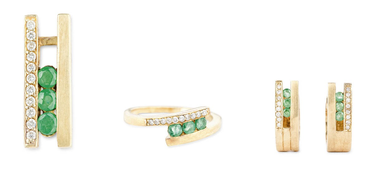 Komplet biżuterii ze szmaragdami, 2 poł. XX w.