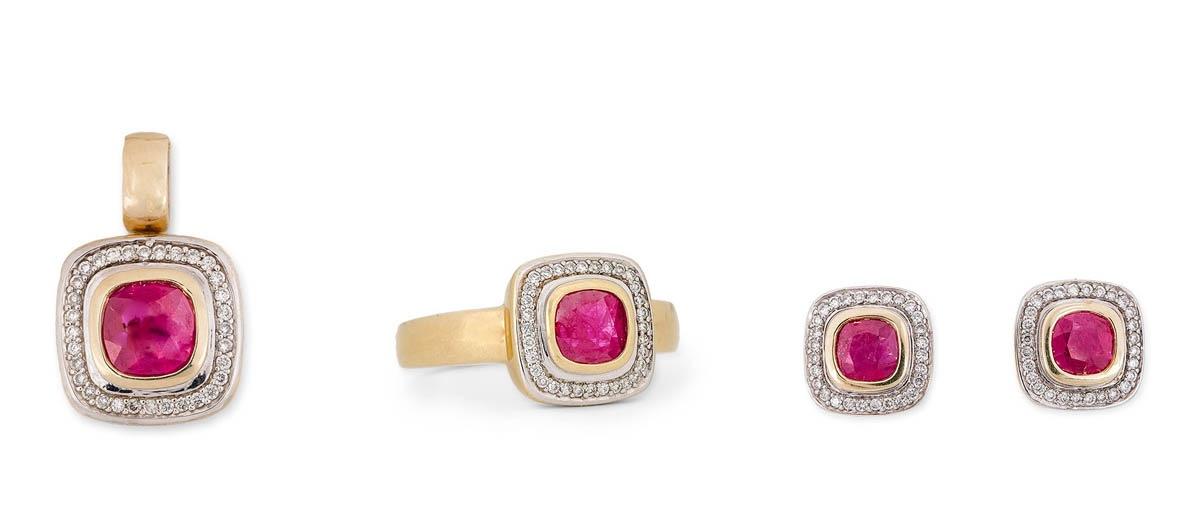 Komplet biżuterii z brylantami i rubinami, 2 poł. XX w.