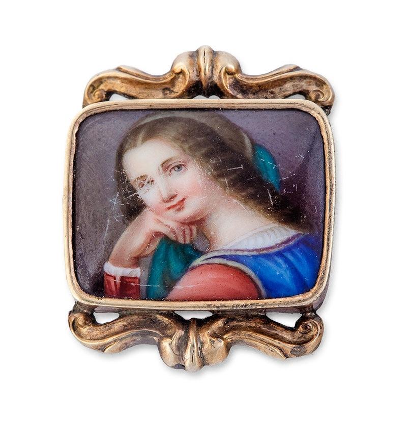 Broszka z miniaturą, 2 poł. XIX w.