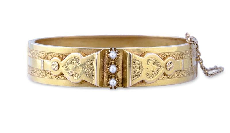 Bransoleta złota z perłami, biedermeier, XIX w