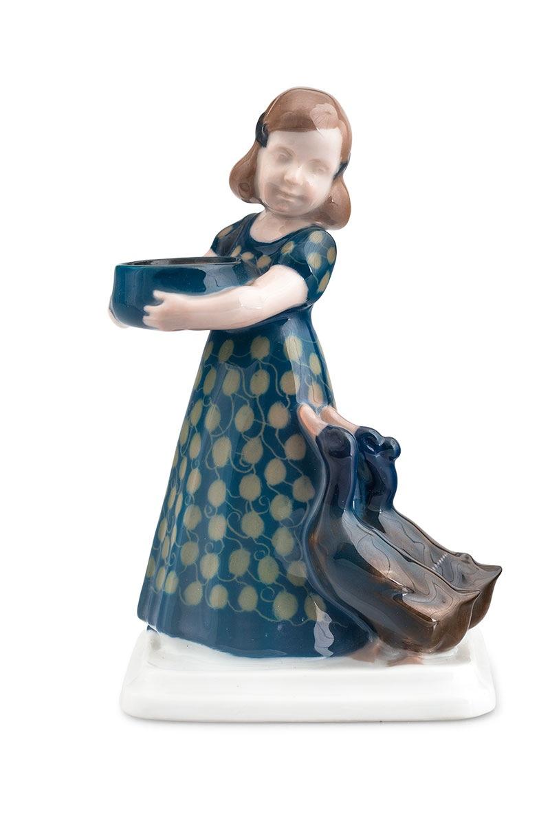 Figurka - dziewczynka z kaczkami, Rosenthal, proj. A. Caasmann (1886-1968), 1914 r.