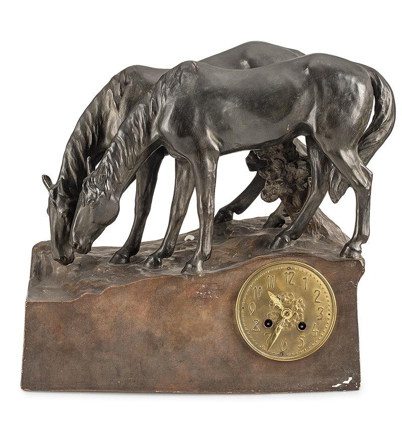 Zegar z figurami koni Wiedeń, wytwórnia Friederich Goldscheider (1892-1938 )?
