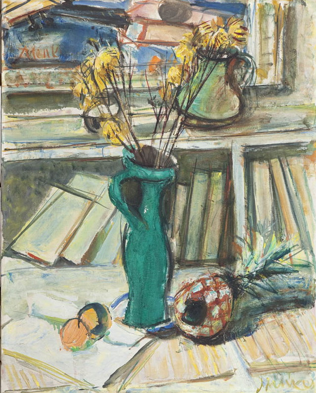 Martwa natura z kwiatami w studiu artysty