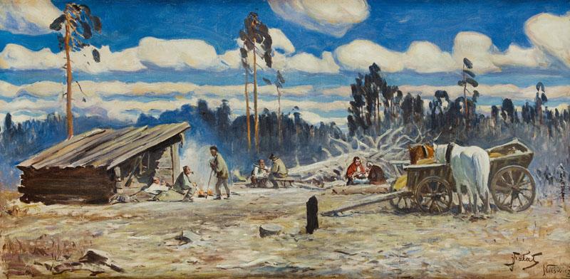 Odpoczynek po polowaniu w Nieświeżu, około 1915 r.