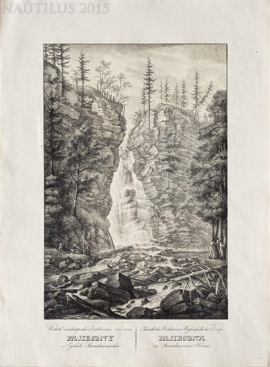 Widok wodospadu Bóktowica we wsi Pasieczny w cyrkule stanisławskim, 1823