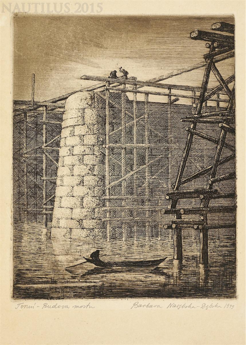 Toruń. Budowa mostu, 1949