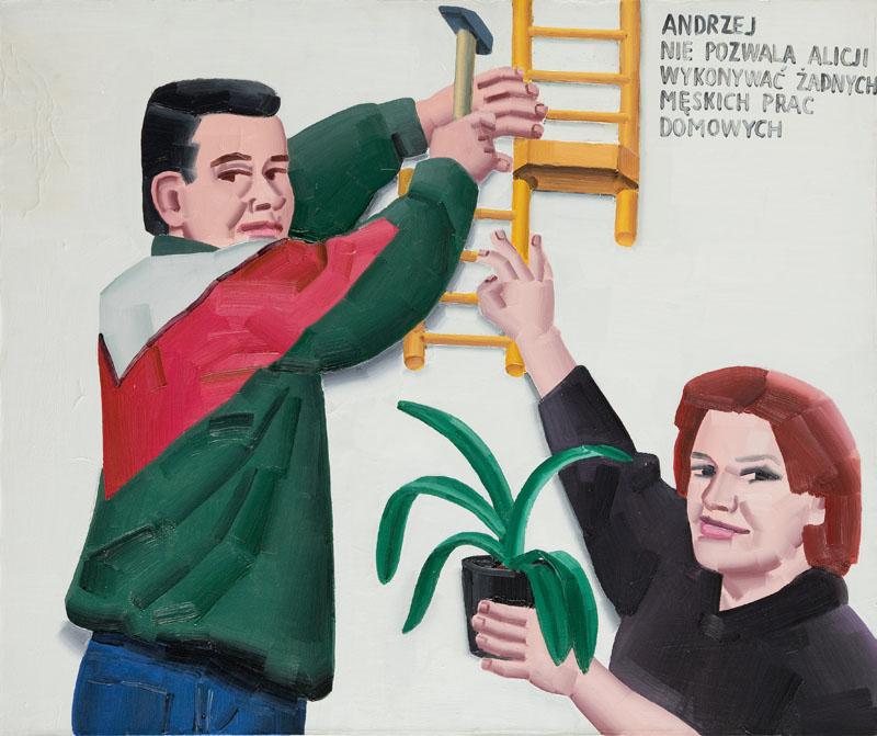 Andrzej nie pozwala Alicji wykonywać żadnych męskich prac domowych, 2001 r.