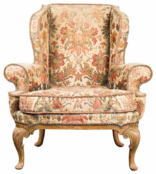 Fotel-uszak (A George I-style Carved Beech Wing Armchair),