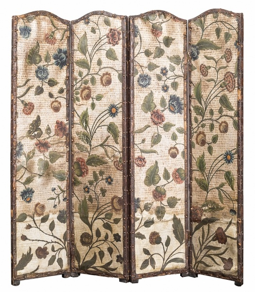 Parawan wiktoriański (A Victorian painted and Embossed Leather silvered-ground four-leaf Screen)