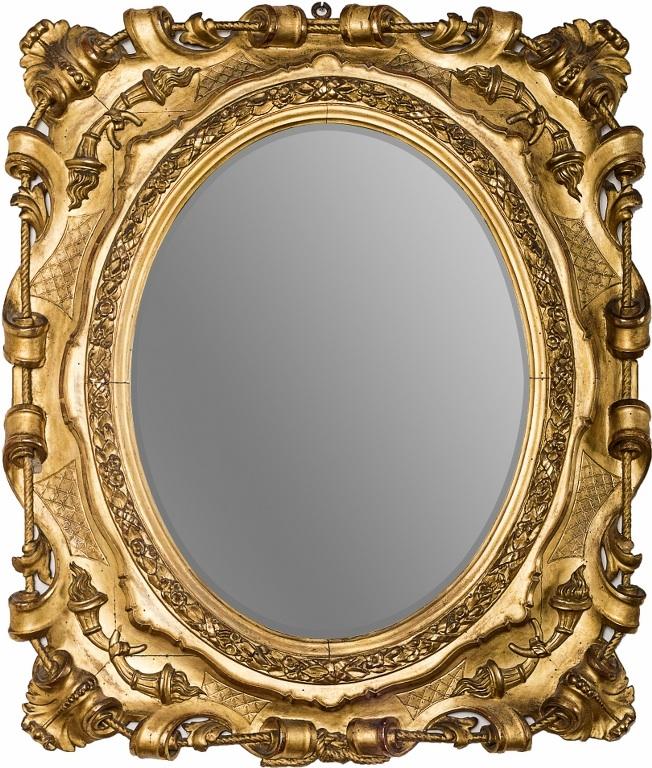 Lustro owalne w złoconej ramie (An Italian oval giltwood frame)