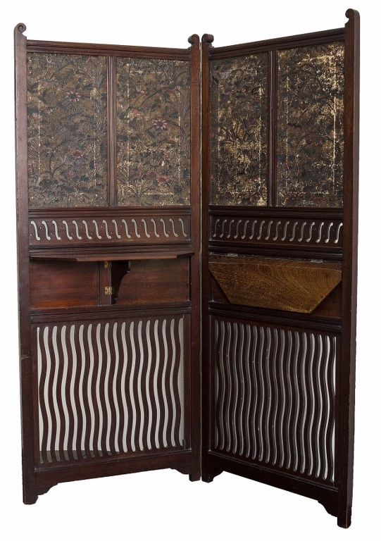 Parawan wiktoriański (A late victorian aesthetic movement mahogany and pressed leather two-fold screen)
