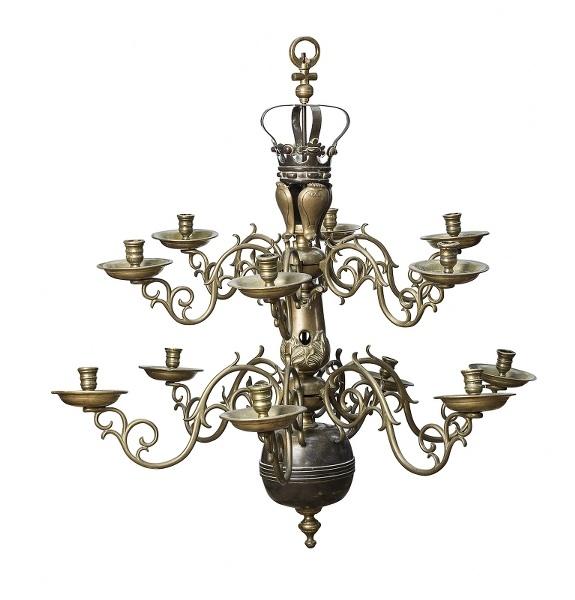 Żyrandol holenderski (A dutch twelve-branch bronze chandelier)