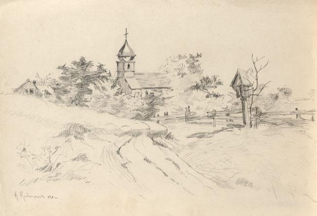 WIEJSKA DROGA z KAPLICZKĄ i DREWNIANYM KOŚCIÓŁKIEM, 1898