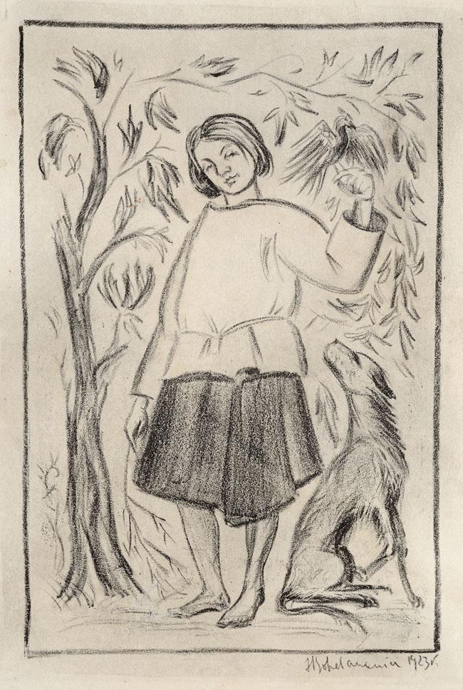 DZIEWCZYNA z SOKOŁEM i PSEM (WIEJSKA DIANA), 1923