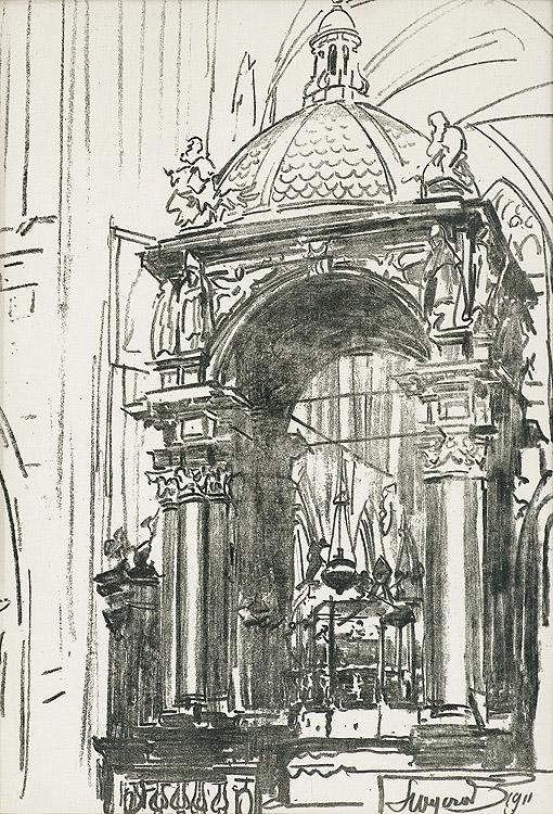 Z KATEDRY WAWELSKIEJ. KONFESJA NAD GROBEM ŚW. STANISŁAWA, 1911