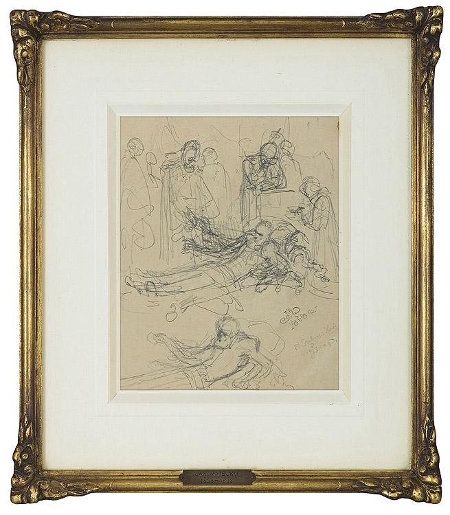 SZKIC WIELOPOSTACIOWEJ KOMPOZYCJI ORAZ SZKIC POSTACI LEŻĄCEGO MĘŻCZYZNY, 1868
