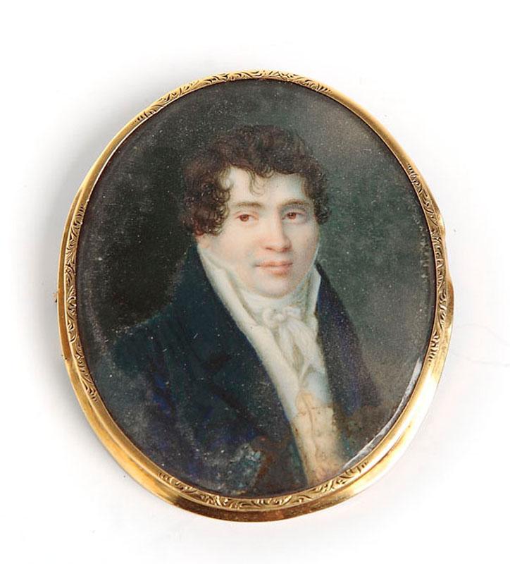Miniatura - portret mężczyzny, pocz. XIX w.