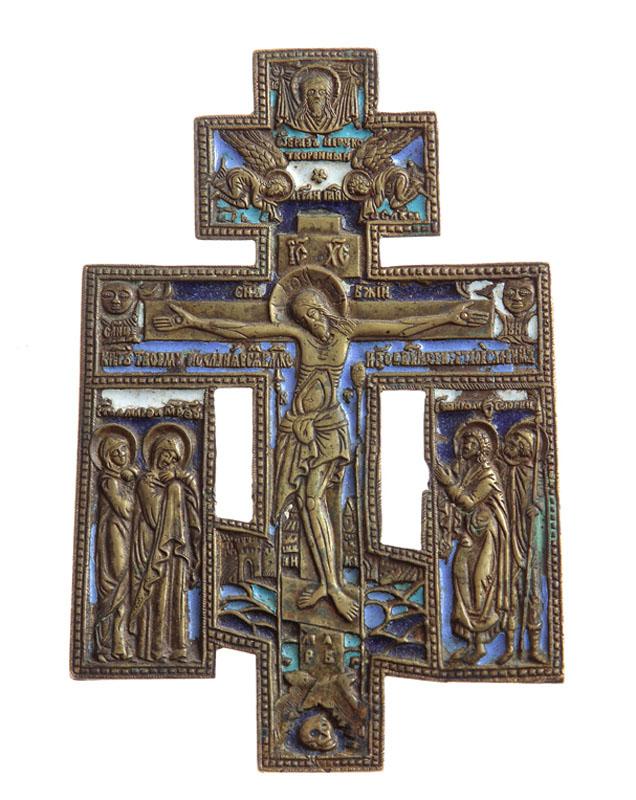 Krzyż prawosławny z dekoracją emaliowaną, pocz. XX w.
