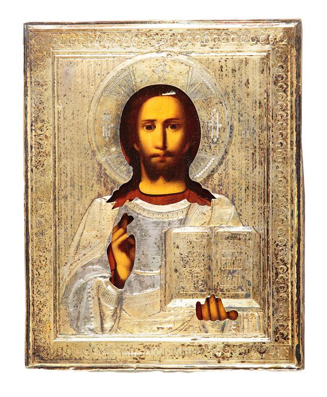 Ikona - Chrystus Pantokrator, XIX w.