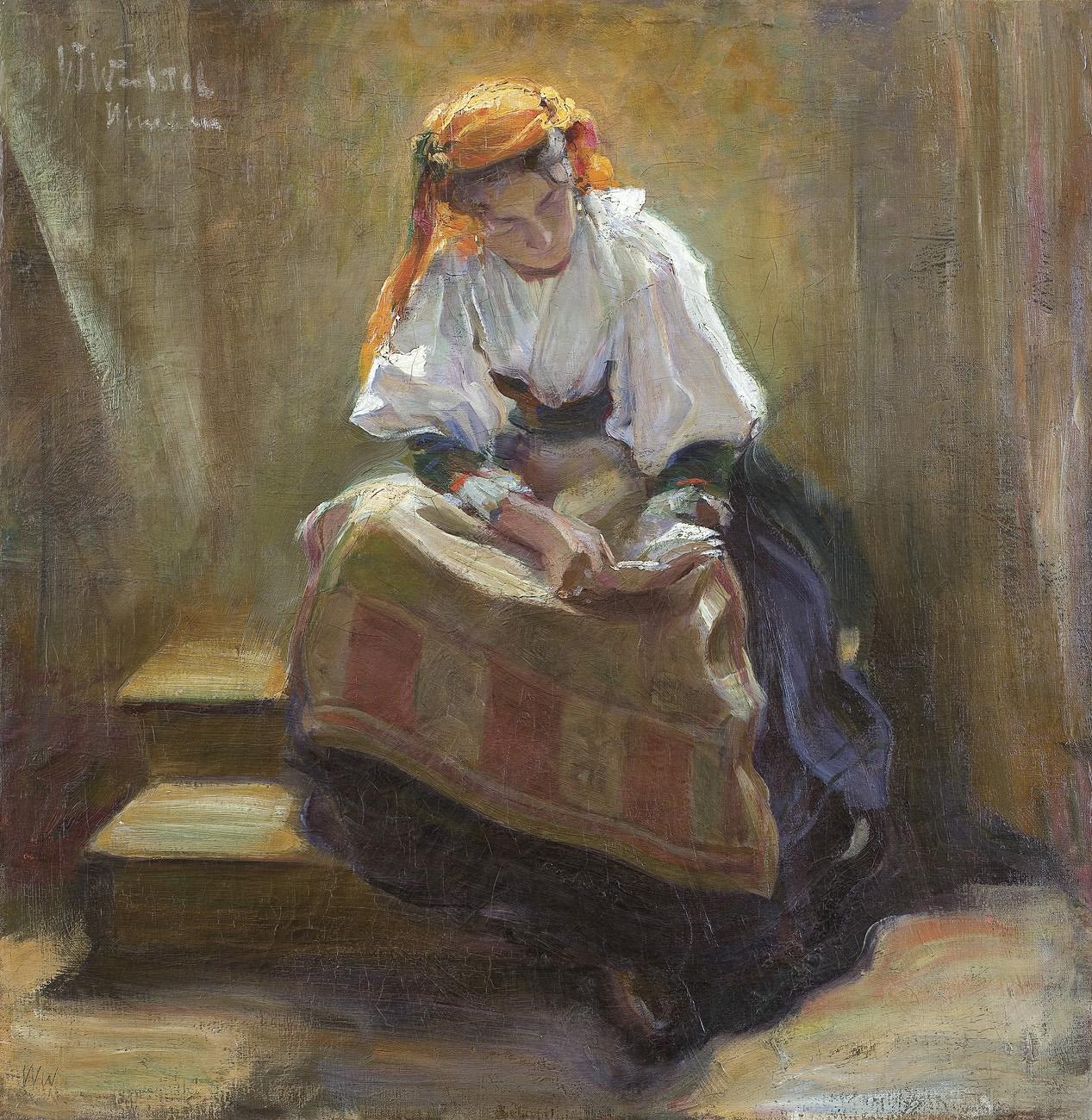 DZIEWCZYNA NAD KSIĄŻKĄ, ok. 1900