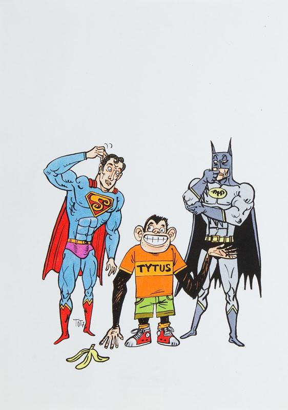 Tytus, Batman i Superman - ilustracja do antologii o Henryku Chmielewskim, 2007 r.