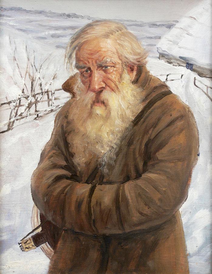 Portret starca na tle pejzażu zimowego