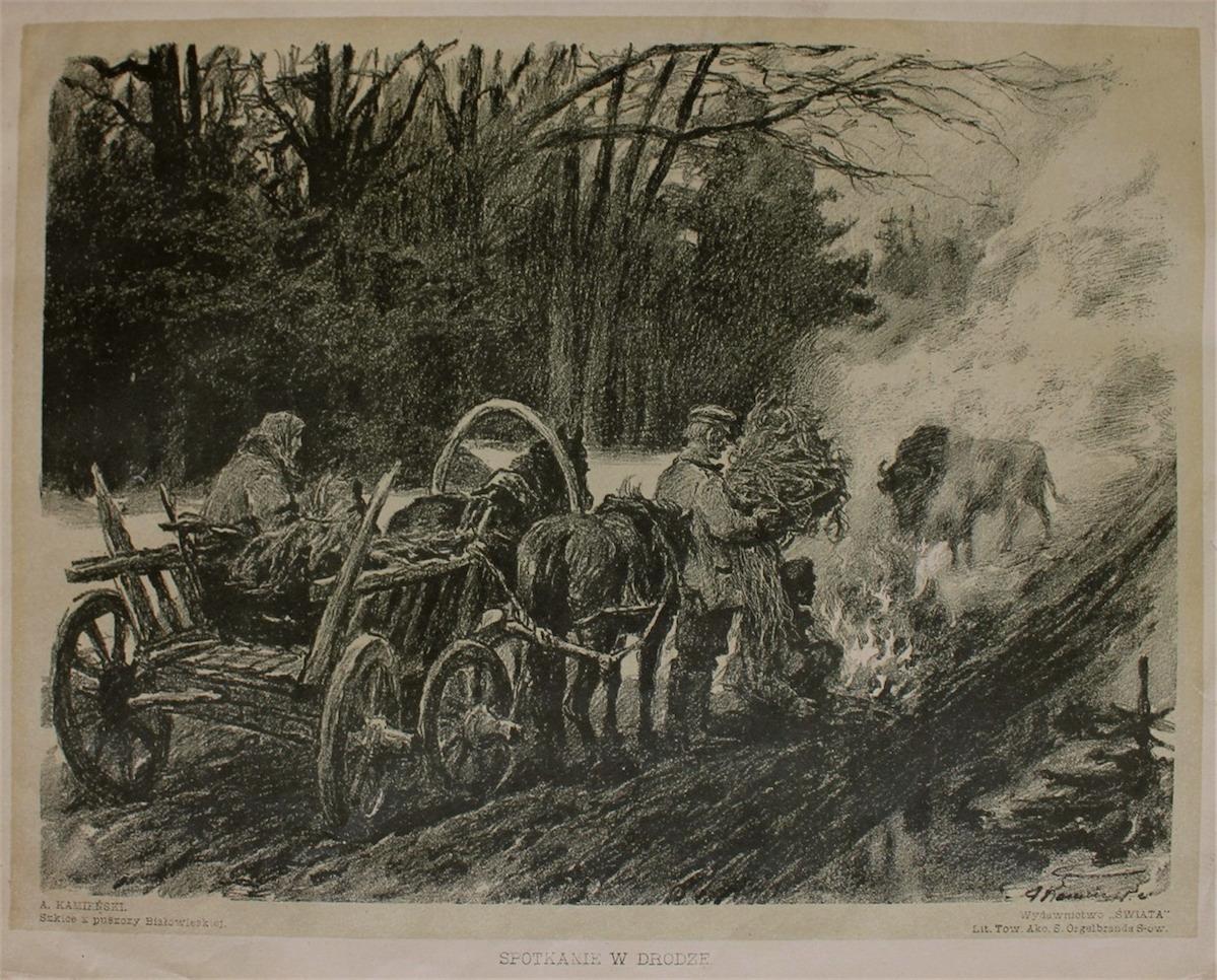 Spotkanie w drodze (z teki Szkice z Puszczy Białowieskiej, 1912)